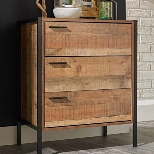 Hoxton Wooden Chest Of Drawers In Distressed Oak Effect With 3 Drawers