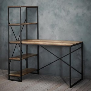 Hoxton Wooden Laptop Desk With Bookshelf In Distressed Oak Effect