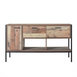 Hoxton Wooden TV Stand In Oak With 1 Door And 2 Drawers