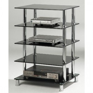 Hudson Black Glass Storage Stand With 5 Shelves