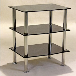 Hudson Black Glass TV Stand With 3 Shelves
