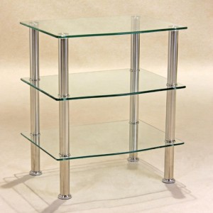 Hudson Clear Glass TV Stand With 3 Shelves