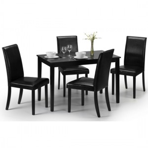 Hudson Wooden Dining Table In Black With 4 Black Faux Leather Chairs