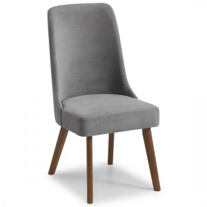 Huxley Chenille Fabric Dining Chair In Dusk Grey