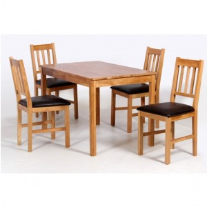 Hyde Wooden Dining Set In Oak With 4 Chairs