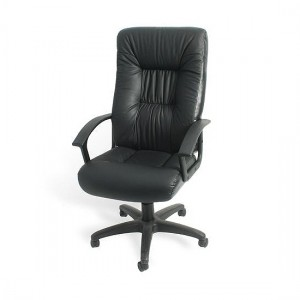 Iago Bonded Leather High Back Office Chair In Black