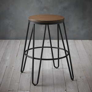 Ikon Wooden Seat Bar Stool With Black Metal Hairpin Legs