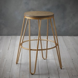 Ikon Wooden Seat Bar Stool With Golden Metal Hairpin Legs