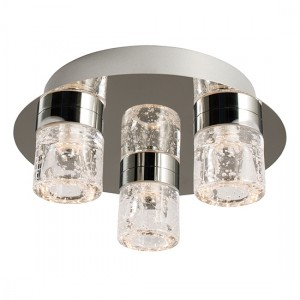 Imperial 3 Lights Clear Glass Flush Ceiling Light In Chrome