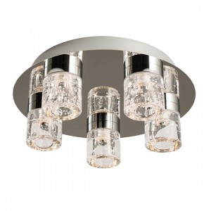 Imperial 5 Lights Clear Glass Flush Ceiling Light In Chrome