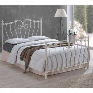 Inova Metal King Size Bed In Ivory