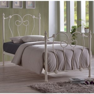 Inova Metal Single Bed In Ivory
