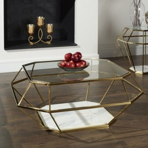 Iris Glass Top Coffee Table With Gold Base