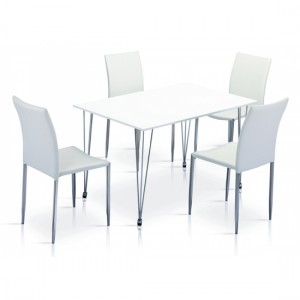 Iris Wooden Dining Set In White High Gloss With 4 Chairs