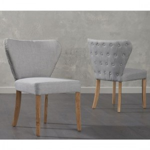 Isabella Grey Fabric Dining Chairs In Pair