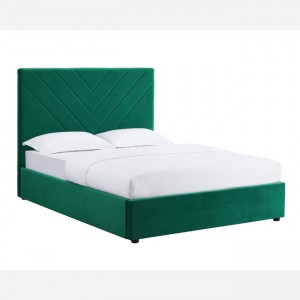 Elton Double Bed In Green Fabric With Black Feet