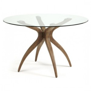 Islington Round Glass Dining Table With Walnut Legs