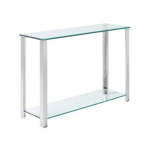 Ivy Clear Glass Console Table In Silver Stainless Steel Legs
