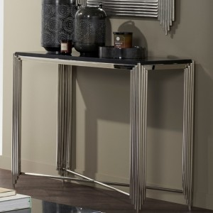 Jaipur Nickel Console Table With Black Granite Top