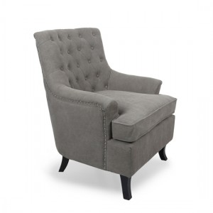 Jamestown Stonewash Effect Fabric Armchair In Grey