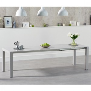 Jamie Extending Wooden Dining Table In Light Grey High Gloss