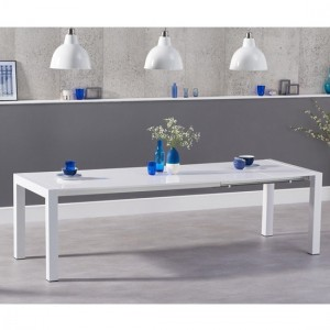 Jamie Extending Wooden Dining Table In White High Gloss