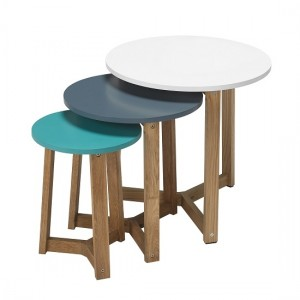 Jasper Funky Coloured Nest Of Tables With Solid Oak Legs