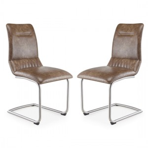 Java Cantilever Warm Earth Leather Dining Chair In Pair