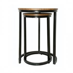 Java Distressed Tops Nest Of Tables With Black Frame
