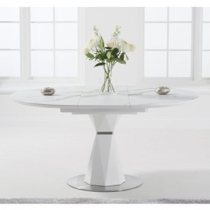 Jayden 120cm Marble Round Dining Table In White