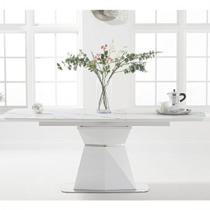 Jayden Extending Marble Dining Table In White