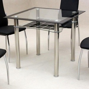 Jazo Clear Glass In Black Borader Dining Table With Chrome Metal Legs
