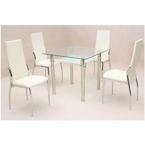 Jazo Clear Glass Dining Set With 4 Cream Lazio Chairs