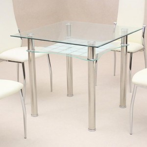 Jazo Clear Glass Dining Table With Chrome Metal Legs