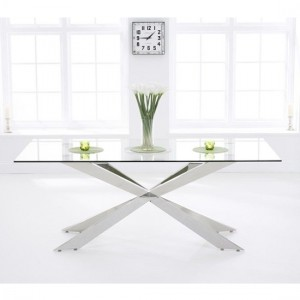 Jazz Large Glass Dining Table With Chrome Stainless Steel Legs