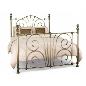 Jessica Metal King Size Bed In Antique Brass