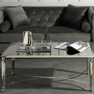 Jodhpur Nickel Coffee Table With Mirrored Top