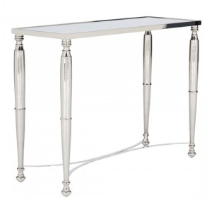 Jodhpur Nickel Console Table With Mirrored Top