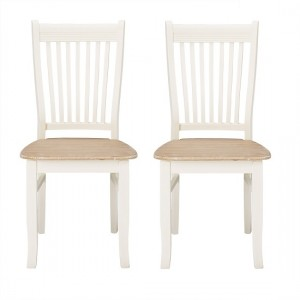 Juliette Cream Wooden Dining Chairs In Pair