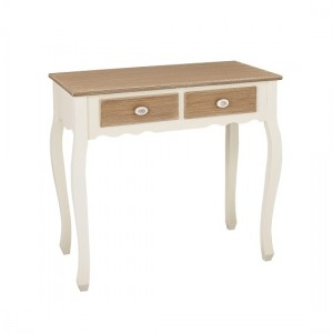 Juliette Wooden Console Table In Cream And Oak With 2 Drawers