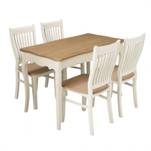 Juliette Wooden Dining Table In Cream And Oak With 4 Chairs