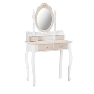 Juliette Wooden Dressing Table With Mirror In Cream And White