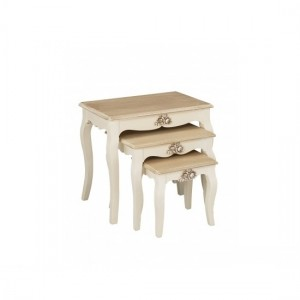 Juliette Wooden Nest Of Tables In Cream And Oak