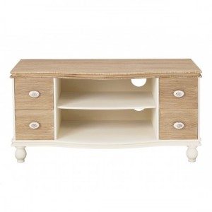Juliette Wooden TV Stand In Cream And Oak With 4 Drawers