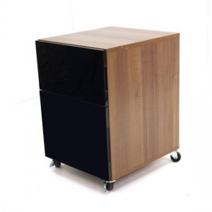 Juo Wooden Office Storage Cabinet In Walnut With High Gloss Black Fronts