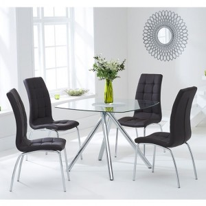 Kaplan Glass Dining Table In Clear With 4 California Brown Chairs