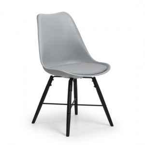 Kari Faux Leather Dining Chair Grey With Oak Wooden Legs