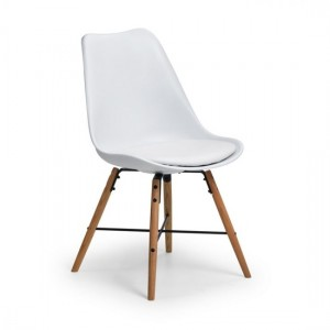 Kari Faux Leather Dining Chair White With Oak Wooden Legs