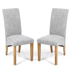Karta Scroll Back Grey Fabric Weave Dining Chair In Pair