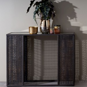 Kashmir Brown Console Table With Mirrored Top